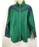 Adobe Rose Vintage Womens Country Western Green Long Sleeve Button Up Si... - $24.74