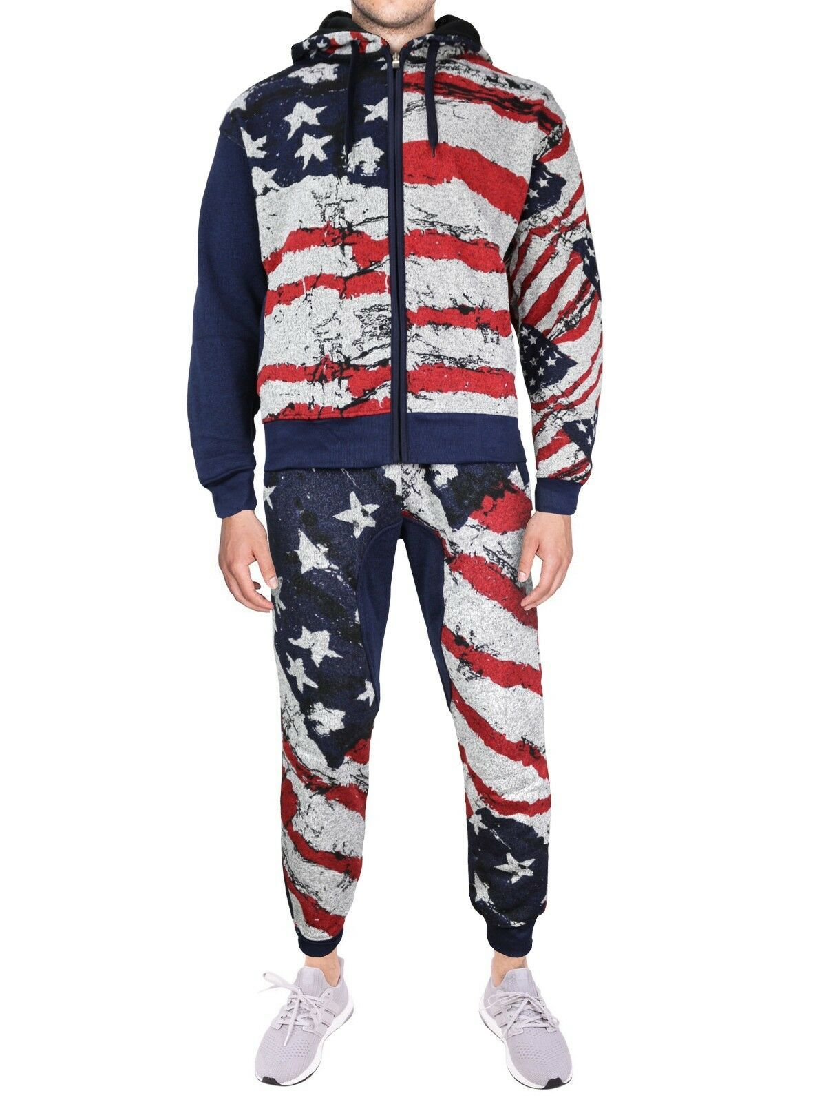 Lavish Society Men's US Flag Athletic Zip Up Hoodie Jacket Pants Tracksuit Set