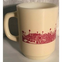 Vintage Anchor Hocking Beige Milk Glass Red City Skyline Coffee Mug Cup ... - $18.02