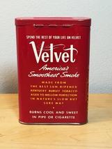 Vintage 50s Velvet Pipe & Cigarette Tobacco tin/packaging 1 5/8oz image 2