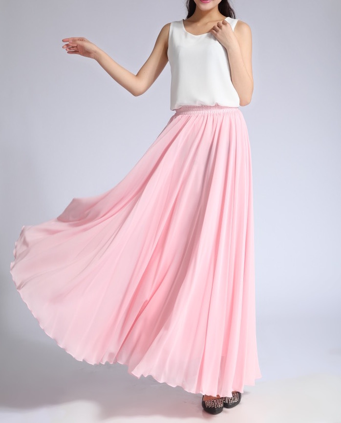 Pink High Waist MAXI CHIFFON SKIRT Women Summer Wedding Swing Chiffon Maxi Skirt