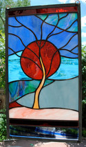 Stained Glass Window Panel sunset mountain blue orange sunset - $163.00
