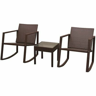 vidaXL Outdoor Rocking Chair Table 3 Piece Poly Rattan Brown Garden Furniture