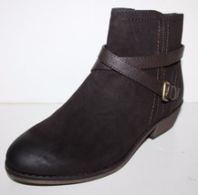 GH Bass NIB Women 7 7.5 Wilma Brown Faux Suede Ankle Boots w X Strap Trim - $82.07