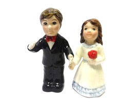 Bride and Groom Red Rose Magnetic Salt and Pepper Shakers - $15.44