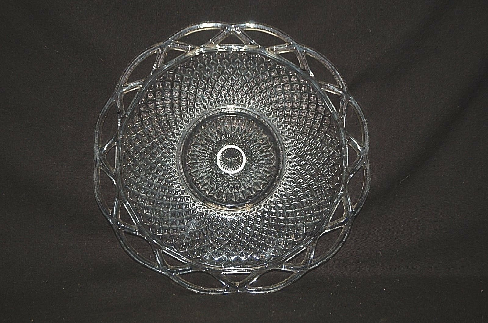 "Primary image for Old Vintage 50's Laced Edge Clear 9-1/4"" Luncheon Plate by Imperial Glass Ohio"