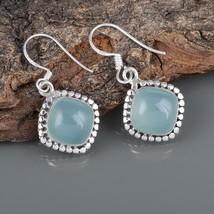 Aqua Chalcedony 925 Sterling Silver Handmade Dangle Drop Earrings Gift f... - $22.99