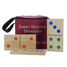 """Knight's Way Jumbo Wooden Dominoes, Colored Pips 7"""" x 3.5"""" - $51.32"""