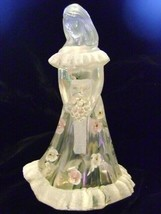Fenton Art Glass Clear Bridesmaid Doll Figurine with Pink & White Roses - $58.04