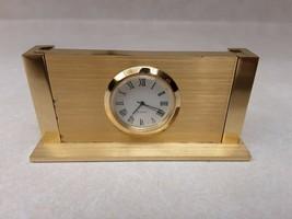 Quartz Clock Solid Metal Desktop Business Card Holder Felt Bottom Not Wo... - $29.60