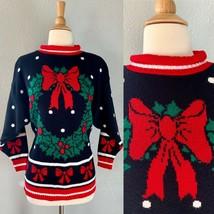 Vintage 80s Black Wreath BOW Polka Dot Grandma UGLY Christmas Sweater To... - $42.08