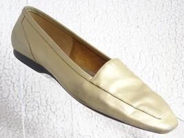 Capezio Women's 8M Gold Jenny Bone Slip-On Loafers Leather Flats Shoes - $11.30