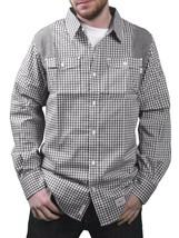 Orisue Blanco y Negro Vichy Pittsburgh Manga Larga Tejido con Botones Camisa Nwt