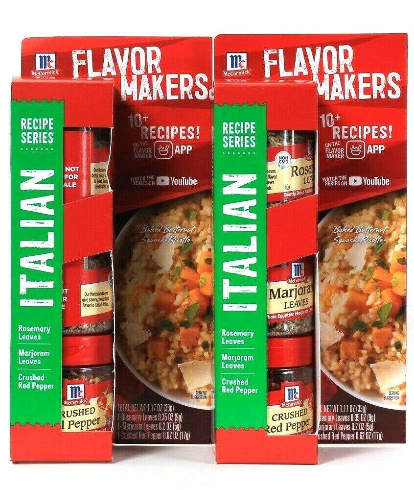 2 McCormick 1.17 Oz Flavor Makers Italian Rosemary & Marjoram Leaves Red Pepper - $17.99