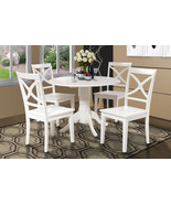 5 PIECE ROUND DINETTE KITCHEN TABLE SET WITH 4 PLAIN WOOD SEAT CHAIRS IN... - $460.02