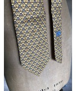 CHRISTIAN DIOR 100% SILK Yellow Equestrian Print NECKTIE Tie Paris Franc... - $48.26