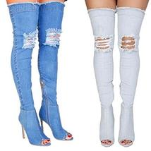 Women Long Thigh High Over Knee Open Toe Stiletto Heel Ripped Denim Boots