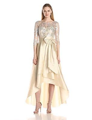 Adrianna Papell Women's Sequin Illusion High-Low Gown with Taffeta Skirt