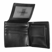 New Calvin Klein Ck Men's Leather Wallet Id Billfold With Coin Case Black 79600 image 6