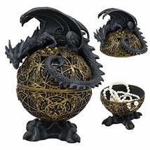Ebros Gift Rocky Stone Dragon Perching On Celtic Knotwork Atlas Golden Egg With  - $39.99