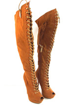 "Shiekh Over The Knee Boots Women's Brown Peep Toe 5.5"" High Heels Lace ... - $29.69"
