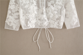 White Floral Tulle Lace Tops Bridesmaids Crop Lace Shirts-crop sleeve,white,plus image 5