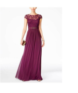Adrianna Papell Lace Illusion Gown Cap Sleeve New Size 4 Dress Currant (Purple) - $164.45