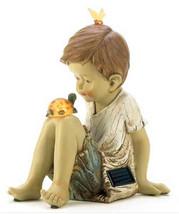 Solar boy turtle butterfly friends statue LED light, garden yard patio d... - £25.56 GBP