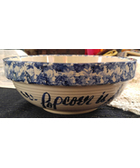 "Vintage Marshall Pottery Large Stoneware Spongeware Popcorn Bowl - ""That... - $32.99"