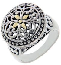 Solid Sterling Silver & 14 K Gold Die-Cut Cluster Ring»R21 - $157.64