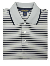 Brooks Brothers Gray Blue Striped Polyester 3 Button Polo Shirt Small S 3178-7 - $50.48
