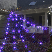 EAMBRITE Halloween Decorations Outdoor Giant Spider Web with 135LT Purpl... - $27.39