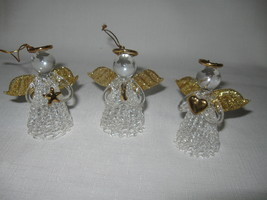 Angel Spun Glass Ornaments Praying Holding Heart Star Clear Gold Avon 2002 - $12.99
