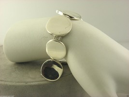 "Argent Massif 925 Grand Circulaire Galets Bracelet 7.75 "" #25 - $52.96"