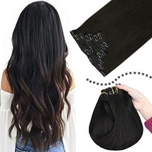Easyouth Human Hair Clip in Extensions Natural Color #1B 7 Pieces 100Gram/Set 18