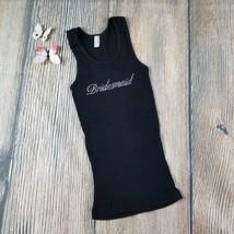 AMERICAN APPAREL sz S black rubbed embellished bridesmaid tank top EUC (... - $4.95