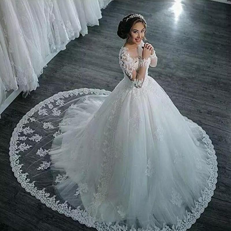 Wedding Dresses Long Sleeve Boat Neck Button Appliques Ribbon Ball Gown