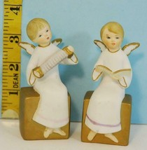 Vintage ART Hand Painted Ceramic Christmas Angels from Japan 650/B Gold ... - $9.89