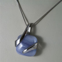 925 STERLING SILVER NECKLACE 17,72 In, BLUE AGATE PENDANT, VENETIAN MESH image 5