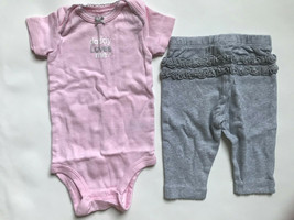"""Girl's Size 3M 0-3 Months 2 Piece Carter's Pink """"Daddy Loves Me"""" Top, Leggings - $15.00"""