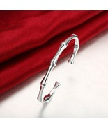 "sterling silver Bamboo motif link bangle bracelet IBB Italy 7"" long Shin... - $9.79"