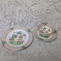 Vintage, Royal Stafford England, Gaudy Blue Willow Trio Cup Saucer n Bread Plate - $66.45