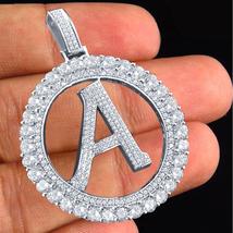 "Initial Letter Alphabet ""A"" Pendant Diamond White Gold Over 925 Sterling... - £118.27 GBP"