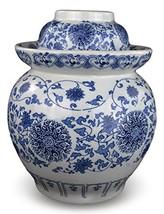 "9.5"" Medium Blue and White Porcelain Pickling Jar 3 Liter with 2 Lids Fe... - $51.87"