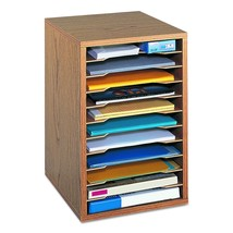 Safco-Adjustable-Vertical-Wood-Shelf-Organizer-Compact-Desktop-10-Shelve... - $53.98
