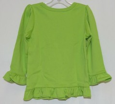 Blanks Boutique Lime Green Girls  Long Sleeve Cotton Ruffle Shirt Size 18M image 2