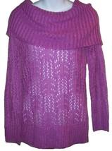Elle Sunny St Tropez Iris Orchid Glittery Loose Open Work Knit Sweater S... - $29.98