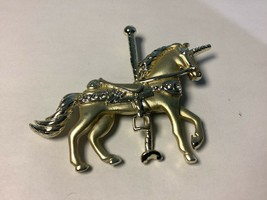 Pendant Unicorn Horse Gold Color With Studded Jewels. Vintage - £17.09 GBP