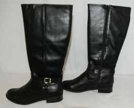 Soda HIROS Black Zip Up Riding Boot Gold Colored Accents Size Ten image 5
