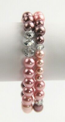 VINTAGE ESTATE Jewelry LOT OF 2 FX PINK PEARL & GLASS CRYSTAL STRETCH BRACELETS